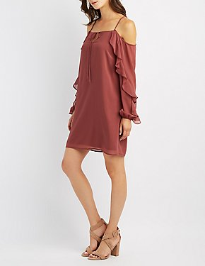 Cold Shoulder Ruffle-Trim Shift Dress