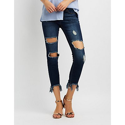 Destroyed Frayed Hem Skinny Jeans