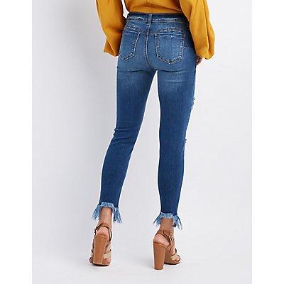 Destroyed Frayed Hem Skinny Jeans