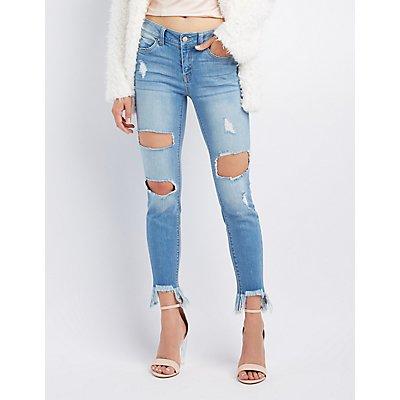 Destroyed Frayed Hem Jeans