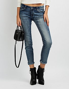 Distressed Cropped Skinny Jeans