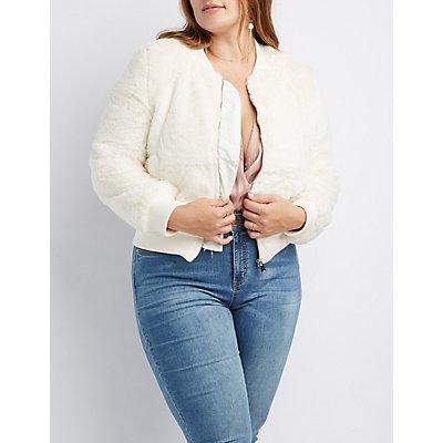 Plus Size Faux Fur Bomber Jacket