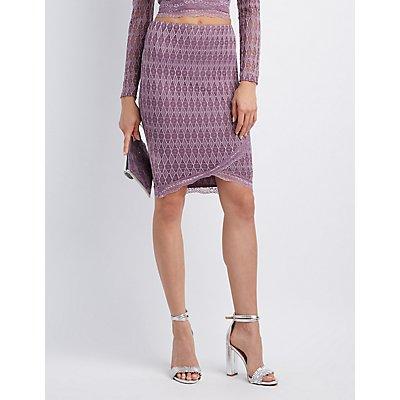 Lace-Trim Bodycon Midi Skirt