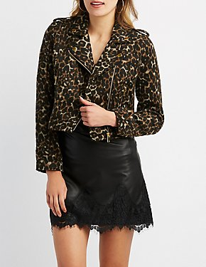 Leopard Patterned Moto Jacket