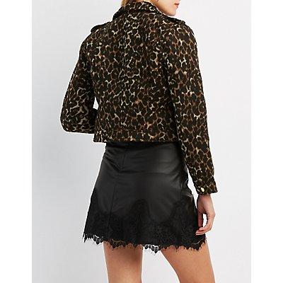 Leopard Patterned Moto Jacket