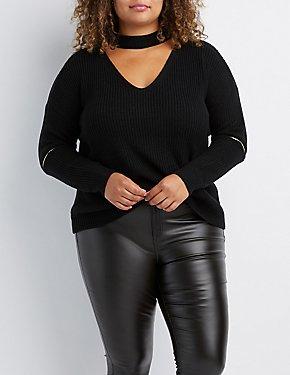 Plus Size Cut-Out Zipper-Trim Sweater