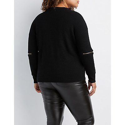 Plus Size Cut-Out Zipper-Trim Sweater