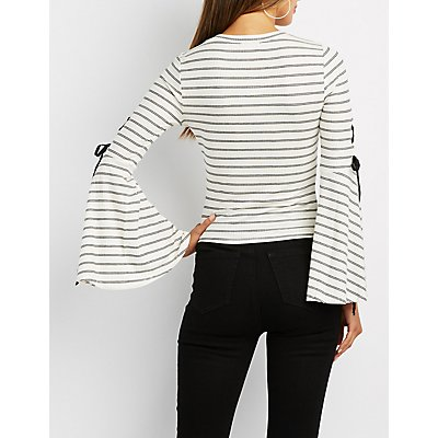 Striped Lace-Up Bell Sleeve Top