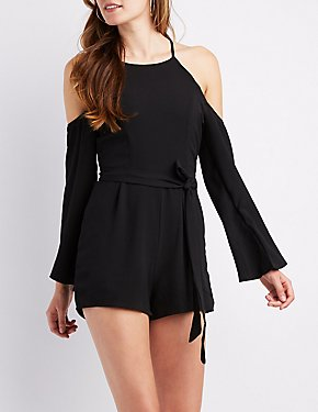 Cold Shoulder Bell Sleeve Romper