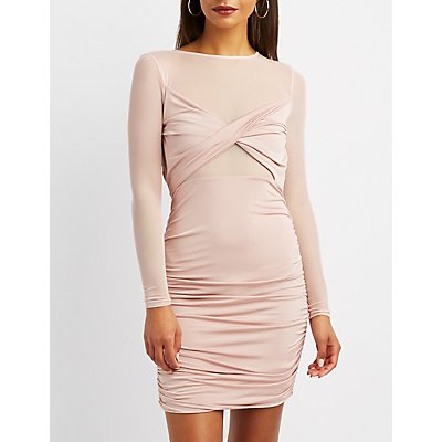 Mesh-Trim Ruched Bodycon Dress