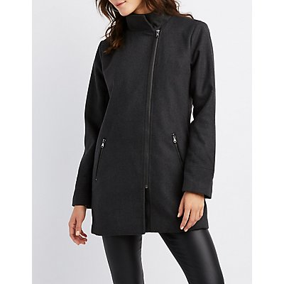 Asymmetrical Zip-Front Peacoat