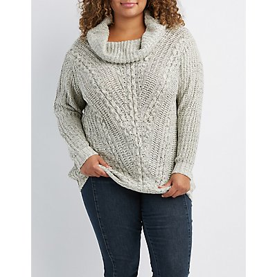 Plus Size Cowl Neck Tunic Sweater