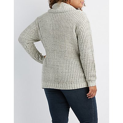 Plus Size Cowl Neck Tunic Sweater