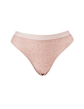 Plus Size Mesh-Trim Lace-Back Thong Panties