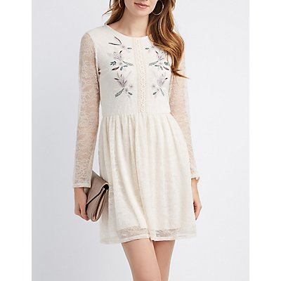 Floral Embroidery Lace Dress