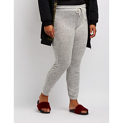 Plus Size Hacci Knit Jogger Pants