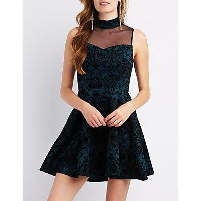 Sleeveless Velvet Skater Dress