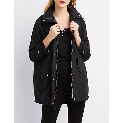Plaid Hooded Anorak Jacket