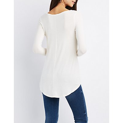 High-Low Scoop Neck Tee