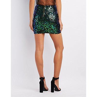 Holographic Sequin Mini Skirt