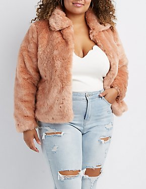 Plus Size Faux Fur Notched Lapel Jacket