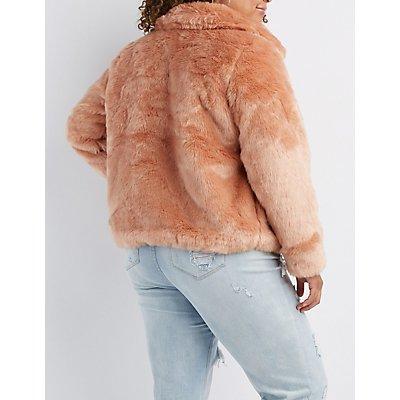 Plus Size Faux Fur Notched Lapel Jacket