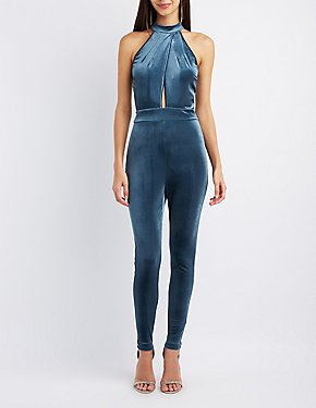 Velvet Mock Neck Surplice Jumpsuit
