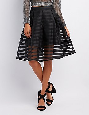 Shadow Stripe Tulle Skirt