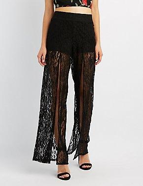 Lace Split-Leg Flare Pants