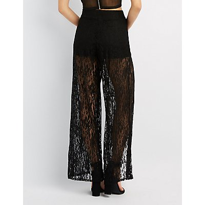 Lace Split-Leg Flare Pants