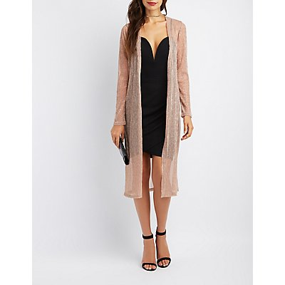 Ribbed Mesh Open-Front Duster