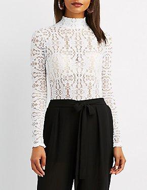 Floral Lace Open-Back Bodysuit