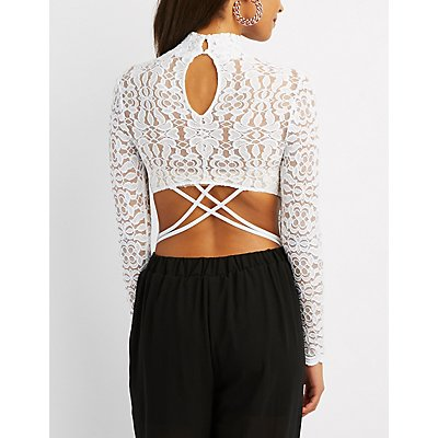 Floral Lace Open-Back Bodysuit