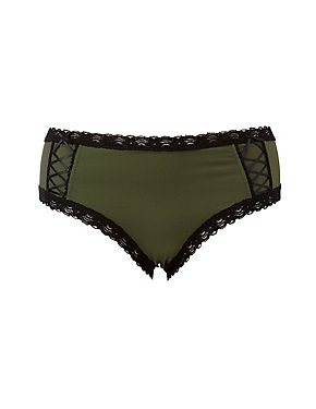 Plus Size Lace-Up Detail Cheeky Panties