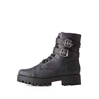 Buckled Lug Sole Combat Boots