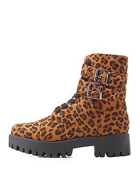 Leopard Print Combat Boots