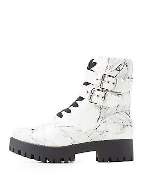Marble Print Combat Boots