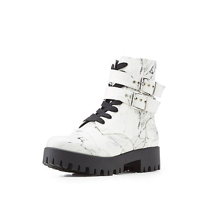 Marble Print Combat Boots