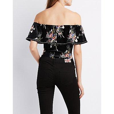 Studded Velvet Off-The-Shoulder Bodysuit