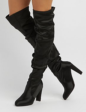Satin Scrunchy Over-The-Knee Boots