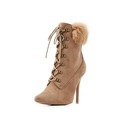 Lace-Up Pointed Toe Ankle Booties