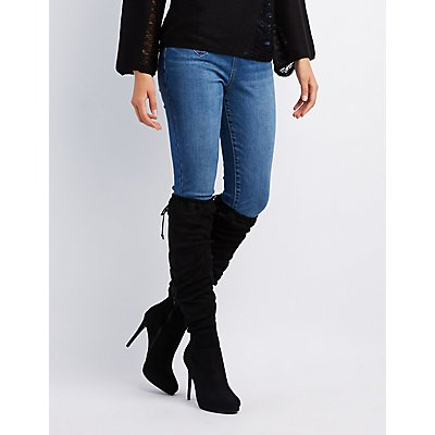 Scrunchy Lace-Up Back Over-The-Knee Boots