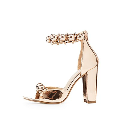 Metallic Bauble Ankle Strap Sandals