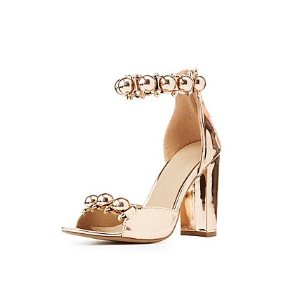 Metallic Bauble Ankle Strap Sandals