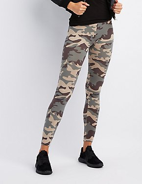 Camo Print High-Waisted Leggings
