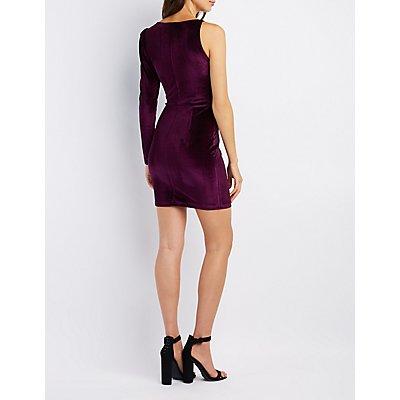 One-Shoulder Surplice Bodycon Dress