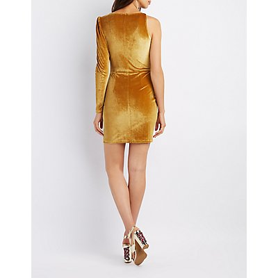 Velvet One-Shoulder Surplice Bodycon Dress