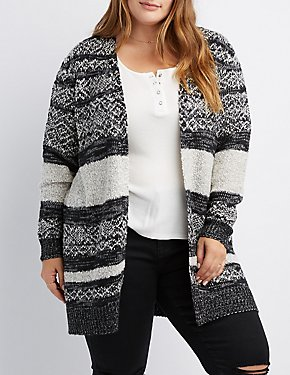 Plus Size Striped Mixed Knit Open Front Cardigan