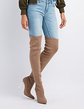 Lucite Heel Over-The-Knee Boots