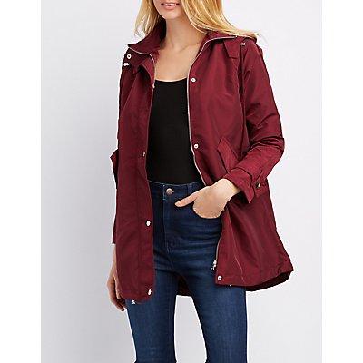 Plaid Hooded Anorak Jacket